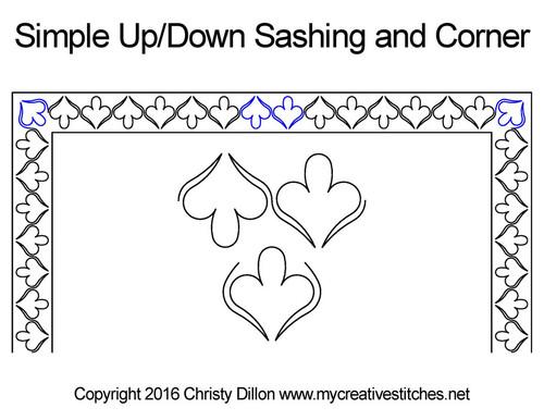 Simple up/down sashing & corner quilt design