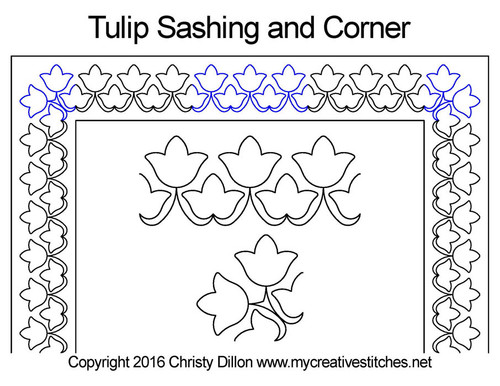 Tulip sashing and corner quilt design