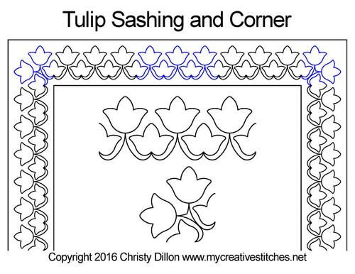 Tulip sashing and corner quilt design