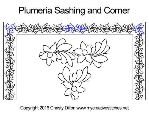 Plumeria sashing & corner quilt designs