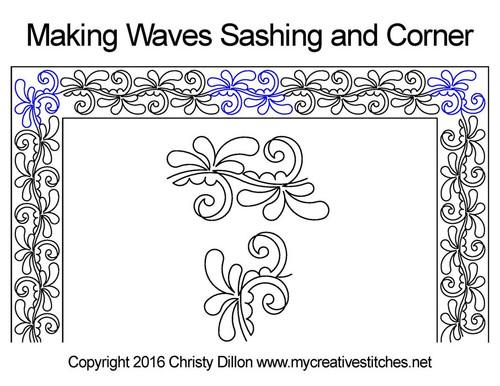 Making waves sashing & corner quilt design