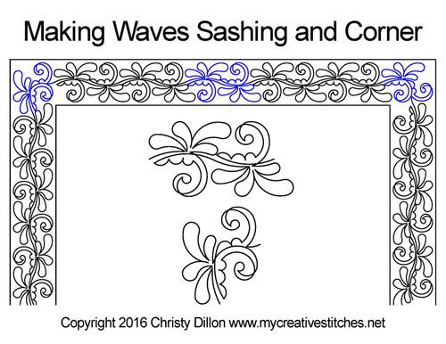 Making waves sashing & corner quilt design
