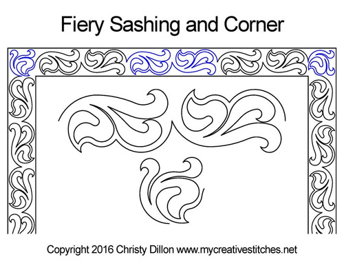Fiery sashing & corner quilt design