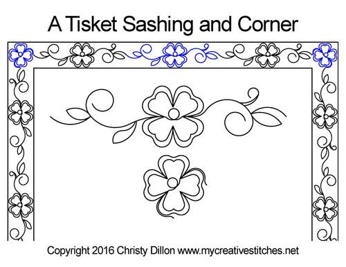 A tisket sashing and corner quilt pattern