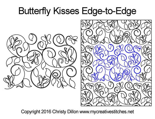 Butterfly kisses edge-to-edge quilt pattern