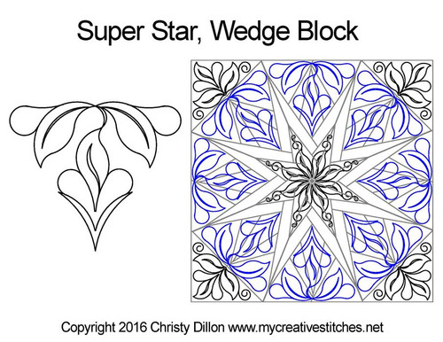 Super star quilting pattern for wedge blocks