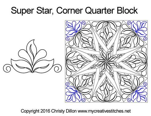 Super star corner quilting design for quarter block