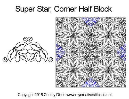 Super star corner quilting design for half block