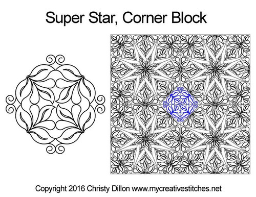Super corner quilting designs for star blocks