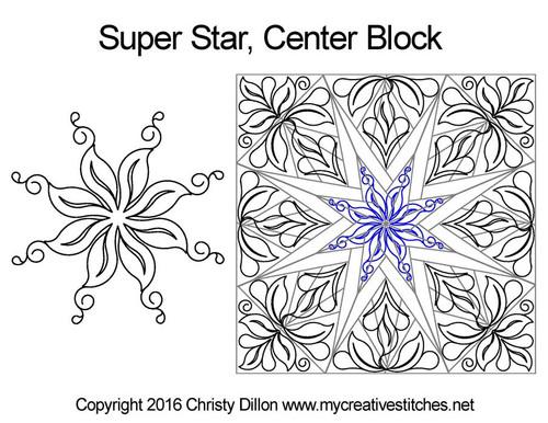 Super center quilting designs for star blocks