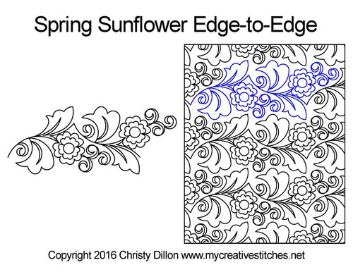 Spring sunflower edge to edge designs