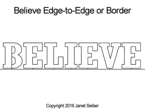 Believe edge to edge quilting designs & border