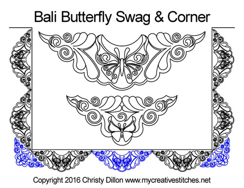 Bali butterfly swag & corner quilting pattern