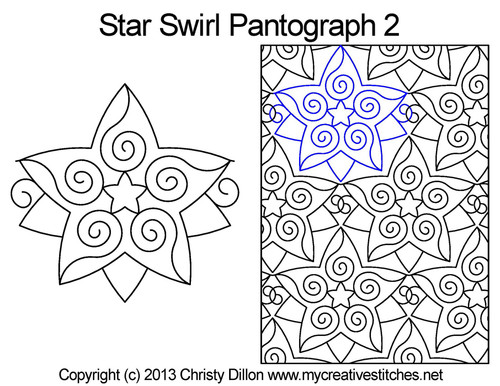Star swirl long arm quilting pantographs 2