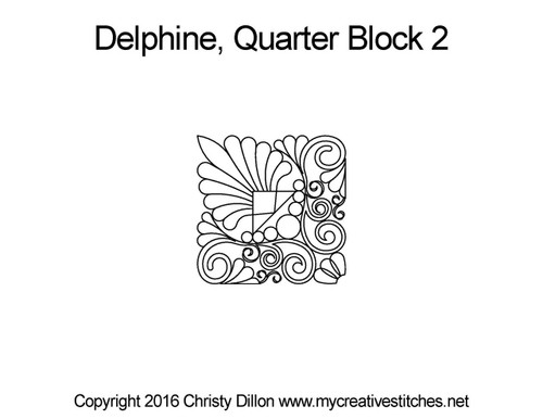 Delphine quarter quilting design for block 2