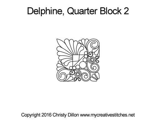 Delphine quarter quilting design for block 2