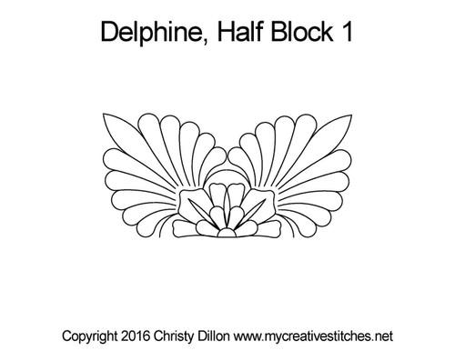 Delphine half block 1 quilting design