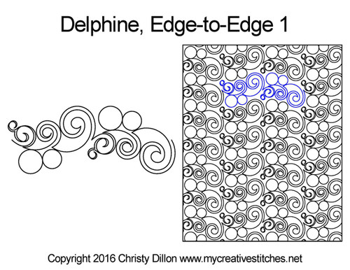Delphine edge to edge quilt patterns