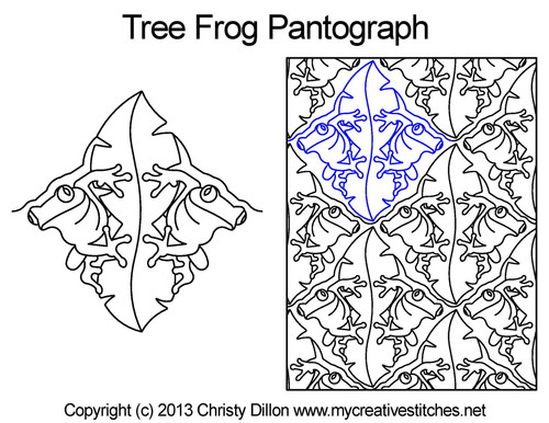 Tree frog digital quilting pantographs