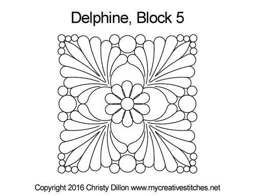 Delphine square block 5 quilting design