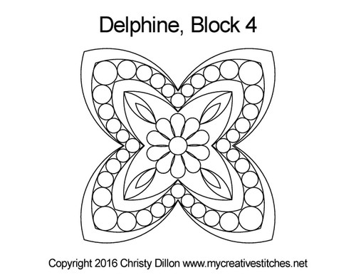 Delphine half triangle quilting pattern for block 4