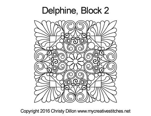 Delphine square block 2 quilt pattern