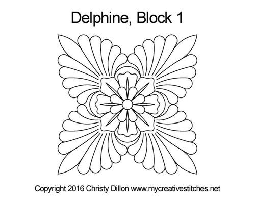 Delphine block 1 quilting design