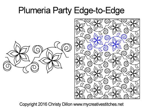 Plumeria party edge-to-edge quilt design