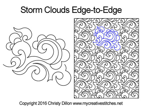 Storm clouds edge to edge quilting pattern