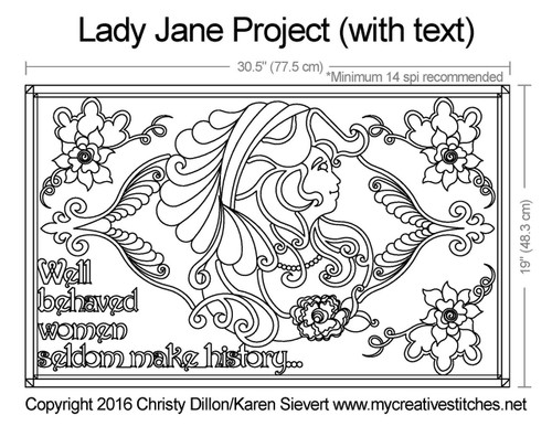 Lady jane free quilting project with text