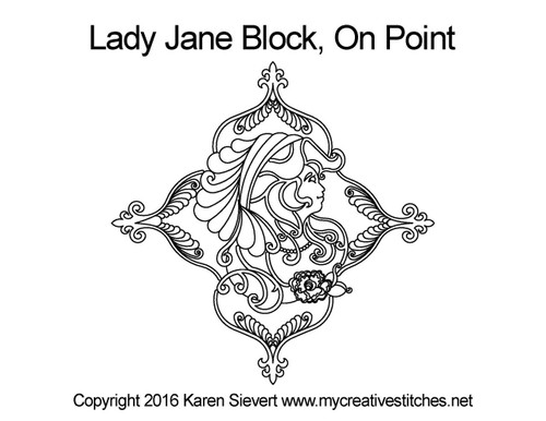 Lady jane block on point quilting design