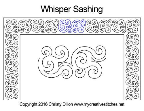 Whisper digitized sashing quilt design