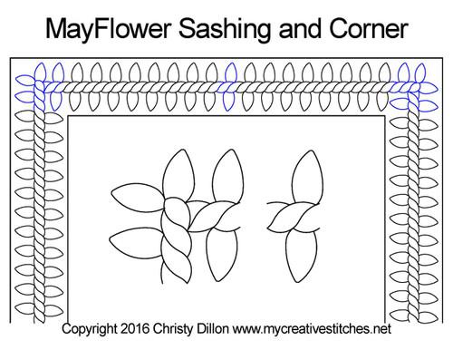 Mayflower sashing & corner quilt design