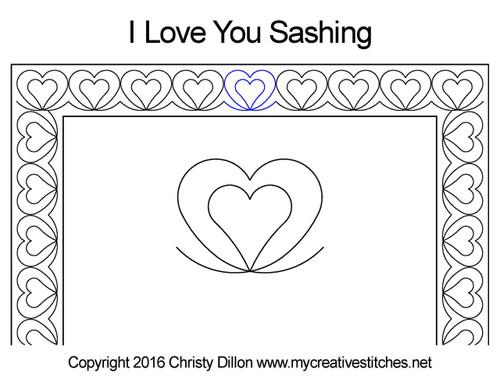 I love you digital sashing quilt design