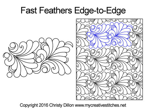 Fast feathers edge-to-edge quilting pattern