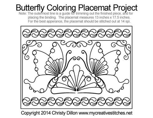 Butterfly coloring free placemat quilting project