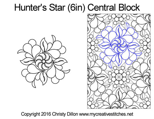 Hunter's central quilting designs for star blocks