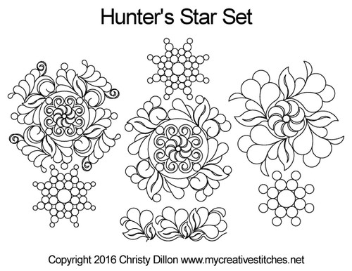 Hunter's Star digital quilting design set