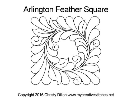 Arlington feather square quilt pattern