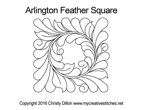 Arlington feather square quilt pattern