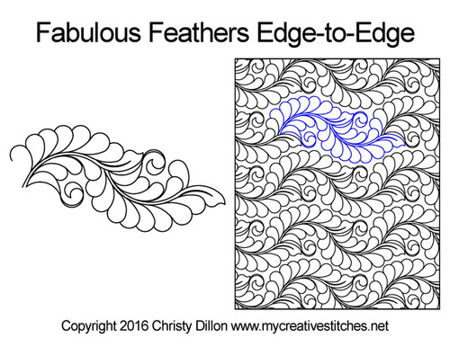 Fabulous feathers edge to edge digital quilt design