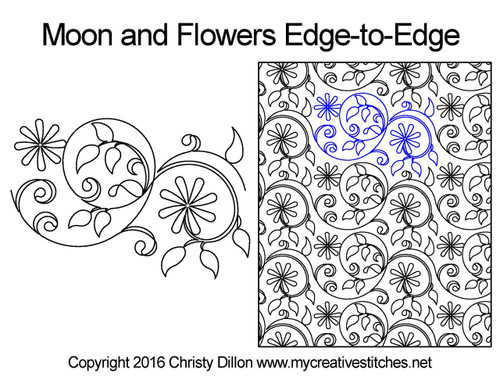 Moon & flower edge to edge digital quilting patterns