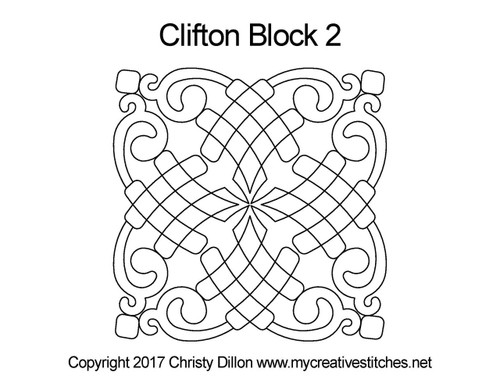 Clifton computerized quilt design for block 2