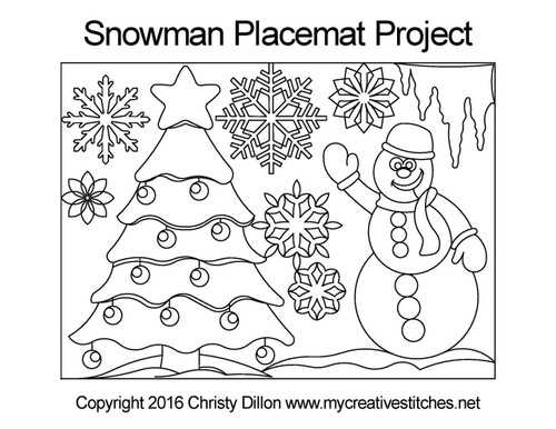 Snowman placemat free quilting project