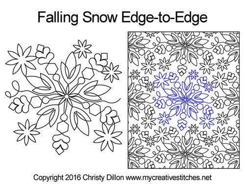 Falling snow edge-to-edge quilting pattern