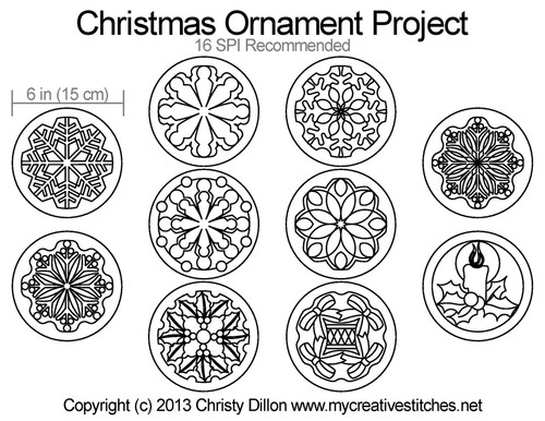 Christmas ornament free quilting project