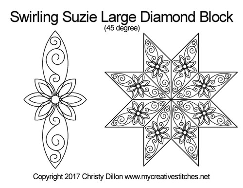 Swirling suzie large diamond large block quilt design