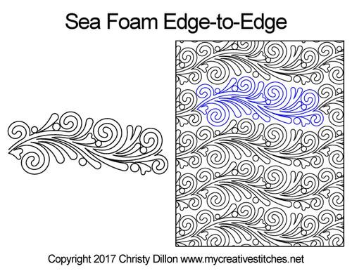 Sea foam edge to edge digital quilting patterns