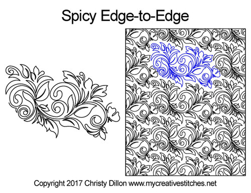 Spicy edge to edge digital quilt designs