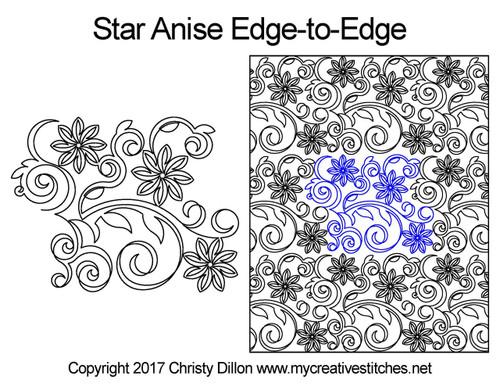 Star anise edge-to-edge quilt design